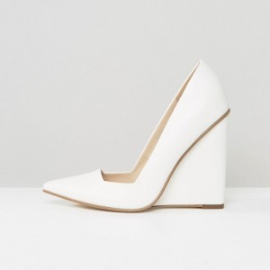 White Low Cut Upper Pointy Toe Wedge Heels Pumps
