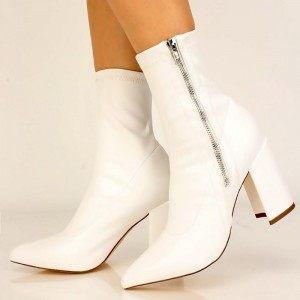 White Lycra Chunky Heel Boots Pointy Toe Ankle Boots
