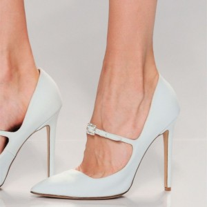 White Mary Jane Heels Buckle Rhinestone Stiletto Heel Pumps
