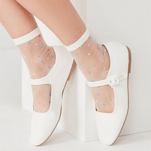 White Mary Jane Shoes Square Toe Flats Comfortable School Shoes