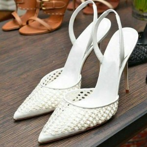 White Nets Slingback Pumps Pointy Toe Stiletto Heels Wedding Shoes