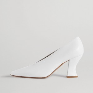 White Office Heels Almond Toe Spool Heel Pumps