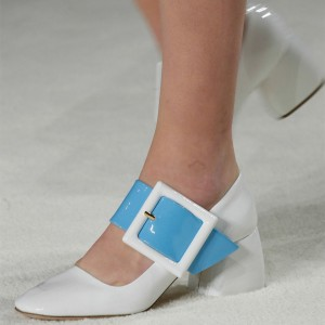 White Oversize Buckle Mary Jane Pumps Block Heels Vintage Shoes