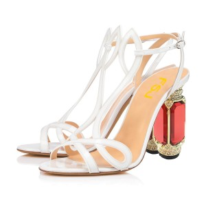 White Patent Leather Evening Shoes Crystal Special Occasion Sandals