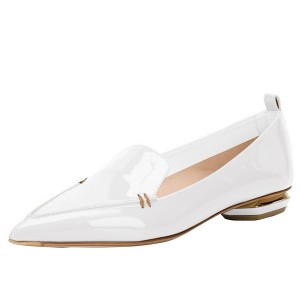 White Patent Leather Loafers for Women Trendy Pointy Toe Flats