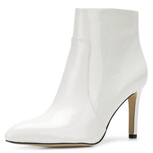 White Patent Leather Stiletto Heel Women's Ankle Boots
