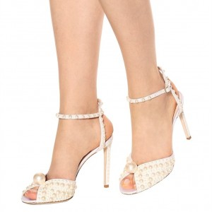 White Pearls Ankle Strap Stiletto Heel Bridal Sandals