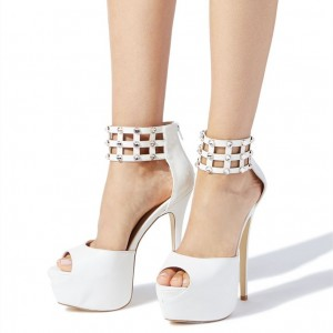 White Peep Toe Ankle Strap Studs Stiletto Heel Platform Sandals