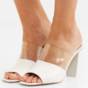 White Peep Toe Clear Mule Block Heels Sandals