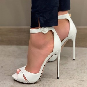 White Platform Ankle Strap Sandals Stiletto Heel Peep Toe Sandals