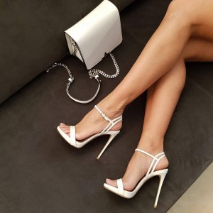 White Platform Stiletto Heels Sandals