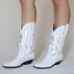 White Pointed Toe Cowgirl Boots Chunky Heel Mid-Calf Boots