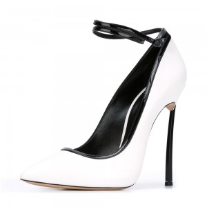 White Pointy Toe Ankle Strap Heels Sexy Stiletto Heels Office Shoes