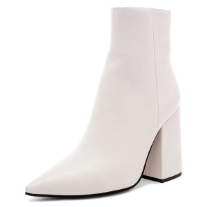 White Pointy Toe Block Heel Ankle Booties