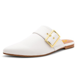 White Mules Pointy Toe Buckle Loafers for Women