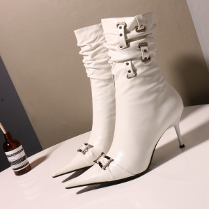 White Pointy Toe Buckle Pearl Stiletto Heel Slouch Boots