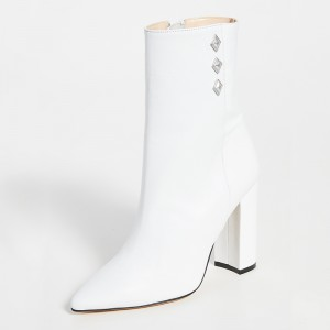 White Pointy Toe Chunky Heel Boots Ankle Boots for Women