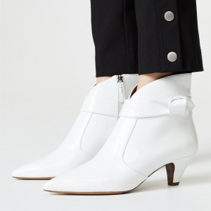 White Pointy Toe Cone Heel Zipper Ankle Booties with Bow