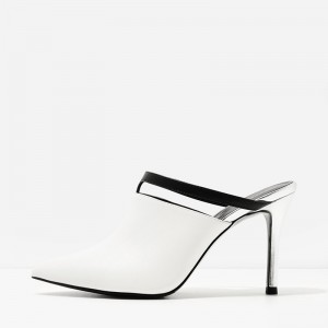 White Pointy Toe Cut out Stiletto Heels Mule