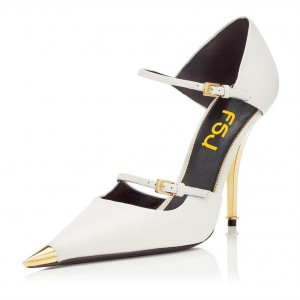 White Pointy Toe Cut Out Two Straps Stiletto Heels Pumps