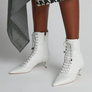 White Pointy Toe Kitten Heel Boots Lace up Ankle Booties with Zipper