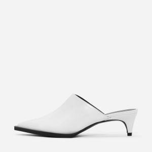 White Pointy Toe Kitten Heel Mule for Women