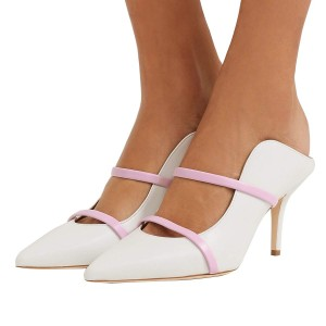 White Pointy Toe Stiletto Gold Straps Heel Mules Pumps
