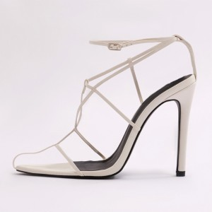 White PU Open Toe Stiletto Heel Strappy Sandals