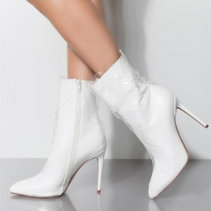 White PVC Wrapped Clear Pointy Toe Stiletto Boots