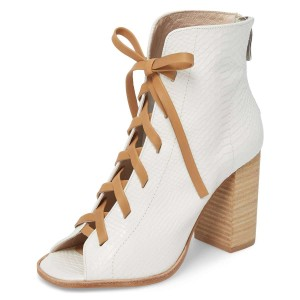White Python Lace Up Peep Toe Chunky Heel Boots