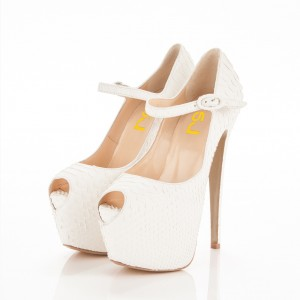 White Mary Jane Pumps Python Platform Stiletto Heels