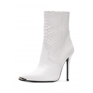 White Python Pointy Toe Stiletto Boots