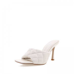 White Quilted Mule Heels Open Toe Stiletto Heel Mule