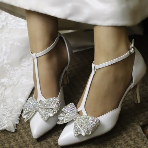 White Rhinestone Bow Wedding Heels T Strap Stiletto Heel Pumps
