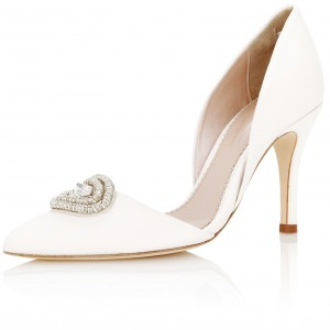 White Rhinestone Double D'orsay Stiletto Heels Wedding Pumps