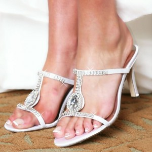 White Rhinestone Stiletto Heel Mule Sandals