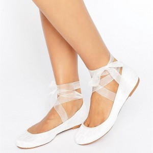 White Lace Flat Wedding Shoes Round Toe Silk Ribbon Lace up Flats