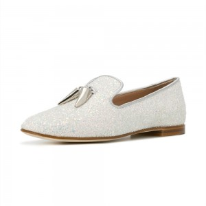 White Round Toe Comfortable Flats Glitter Loafers for Women