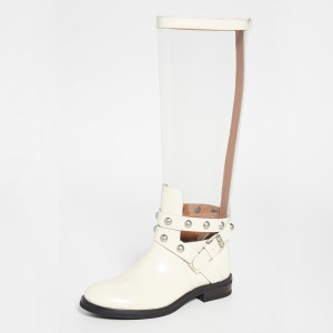 Ivory Clear Round Toe Fashion Boots Buckle Calf-Length Boots