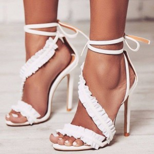 White Ruffle Open Toe Stiletto Heels Ankle Strap Sandals