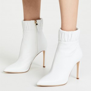 White Ruffle Pointy Toe Stiletto Heel Fashion Zipper Ankle Booties
