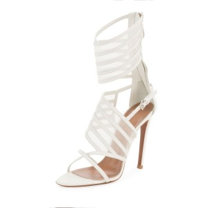 White Sandals Nets Stiletto Heel Ankle Wrapped Sandals with Zip