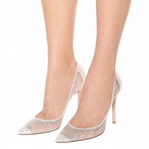 White Satin and Mesh Rhinestone Wedding Heels Stiletto Heel Pumps
