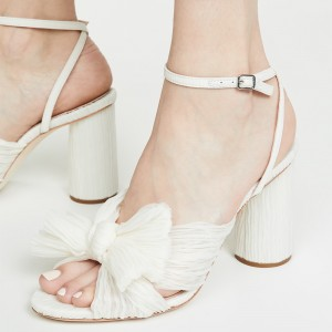 White Satin Bow Ankle Strap Chunky Heel Sandals