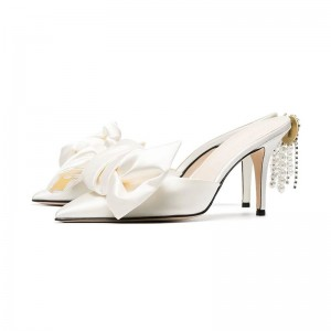 Ivory Satin Bow Mule Heels Pointy Toe Embellished Wedding Shoes