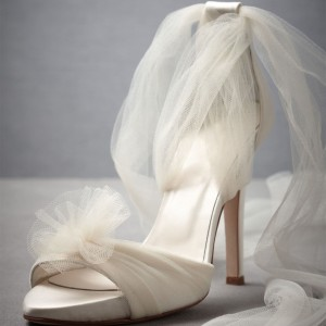 White Satin Bridal Heels Mesh Stiletto Heel Sandals