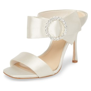 White Satin Cut Out  Buckle Rhinestone Mule Sandals