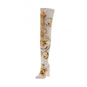Women's Satin Floral Chunky Heel Boots Thigh High Boots