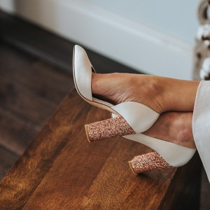 White Satin Glitter Shoes Chunky Heels Pumps
