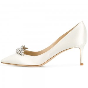 Ivory Wedding Shoes Pointy Toe Satin Rhinestone Embellished Pumps